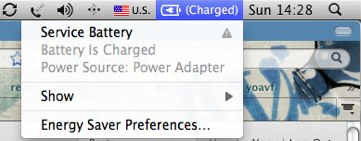 Service Battert notfication for the macbook pro